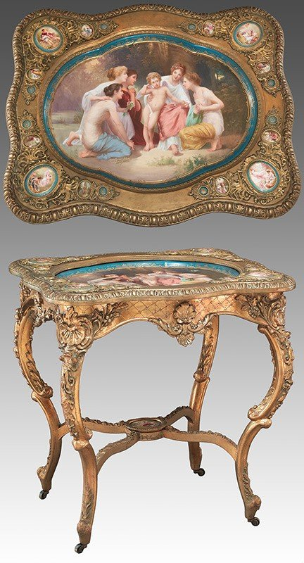 190: Royal Vienna style porcelain and gilt-wood table,