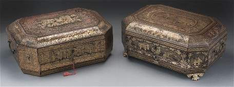 268: (2) Chinese export chinoiserie lacquer sewing