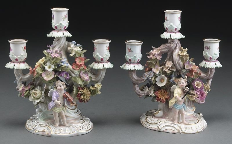 1: Pr. Meissen porcelain three light candelabras
