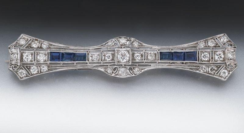 2: Art Deco platinum, diamond and sapphire brooch
