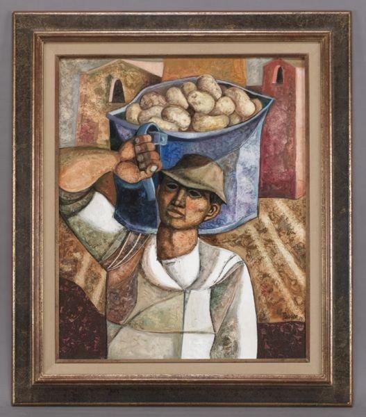 """3: Lucio Ranucci, """"Les Pommes de Terre"""" oil painting"""