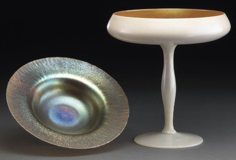 4: 2 Pcs. Art glass: Steuben and Tiffany; including