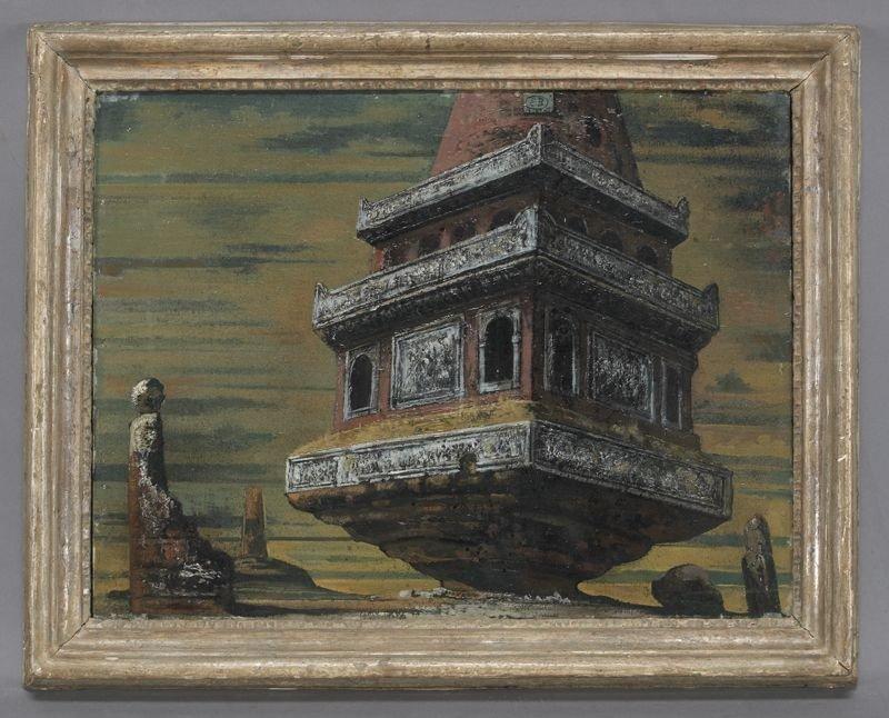 """7: Eugene Berman, """"Monumental Sarcophagus"""" oil"""
