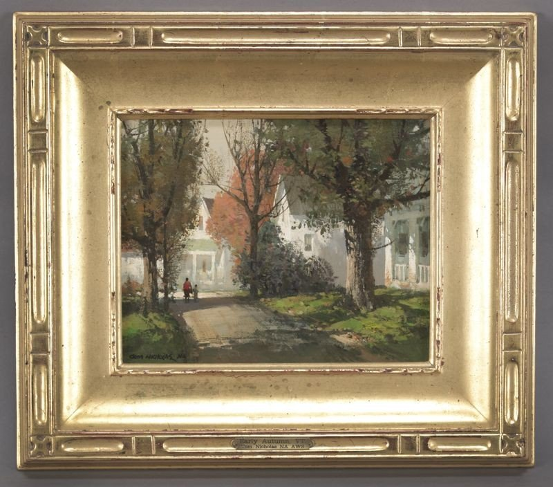"""9: Tom Nicholas, """"Early Autunm, VT."""" oil painting on"""