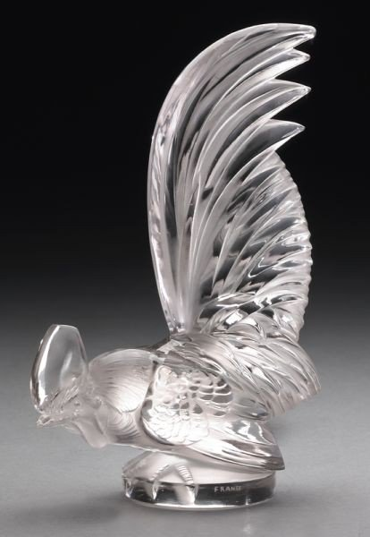 """16: R. Lalique """"Coq Nain"""" hood ornament or mascot"""