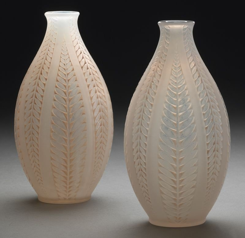 """20: Pr. R. Lalique """"Acacia"""" frosted glass vases"""