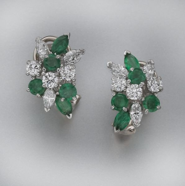 21: Oscar Heyman diamond and emerald earrings