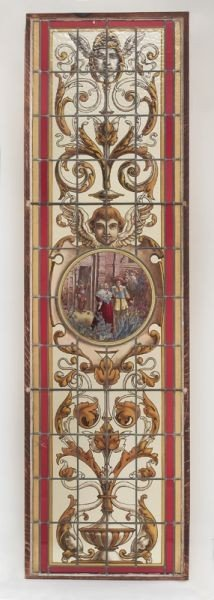 24: English Stained glass window with an inset