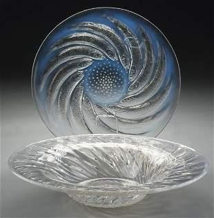 82: (2) R. Lalique opalescent glass pieces, including: