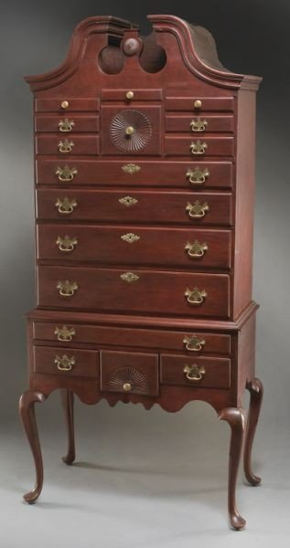 99: American Chippendale cherry highboy in two parts,