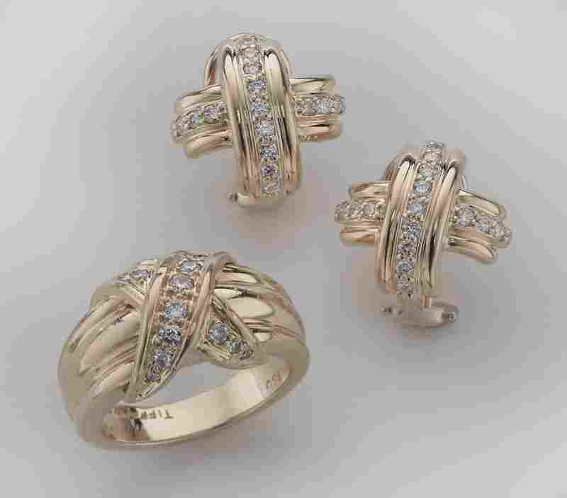 176: 18K Tiffany and Co. knot diamond earrings and ring