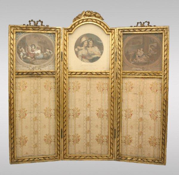 2: Louis XVI style 3 panel table top screen,