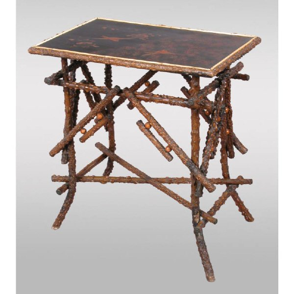 4: Unusual briarwood twig table w/ chinoiserie