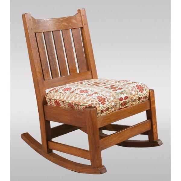 8: L & JG Stickley Mission oak sewing rocker #821 with