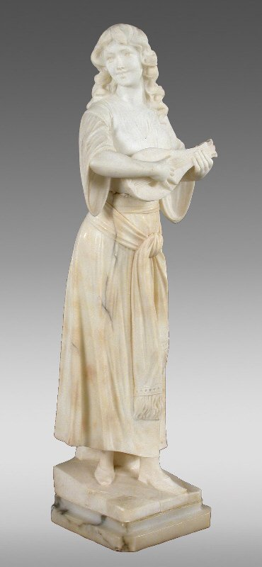 9: A marble statue of a woman playing a mandolin