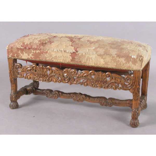 10: Continental carved window bench with Aubusson