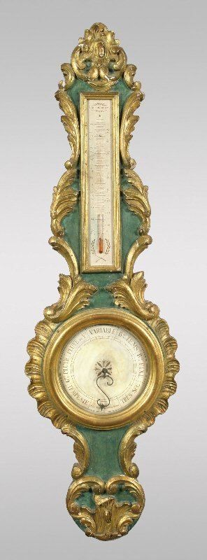 11: A Louis XVI style wheel form barometer/thermometer