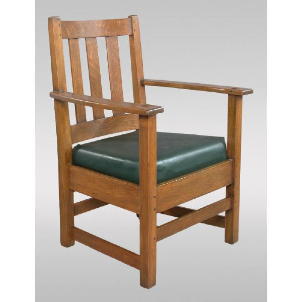 13: Limbert Arts & Crafts oak armchair w/ drop in