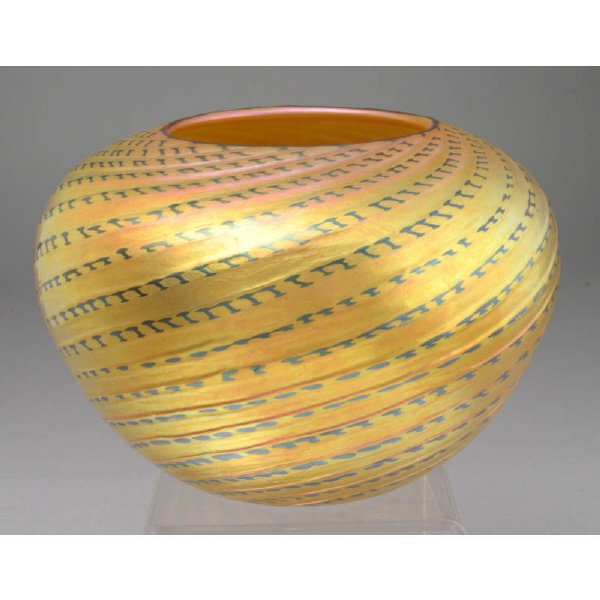 """14: Lundberg art glass bowl in the """"Red Indian Basket"""""""