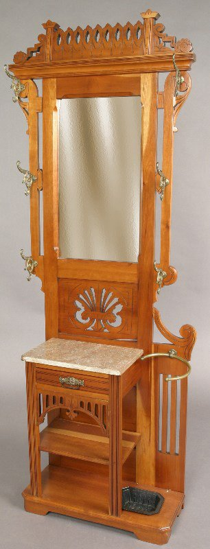 15: American cherry wood hall stand w/ mirror, marble
