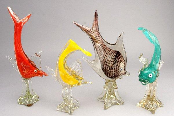 """16: (4) Italian Murano glass fish. 14.5""""H-18.75""""H,"""