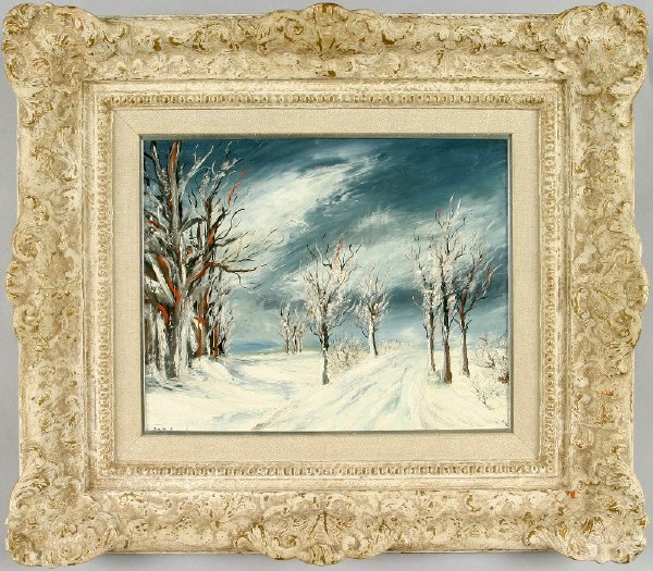 17: Dmitri winter landscape oil painting on masonite.