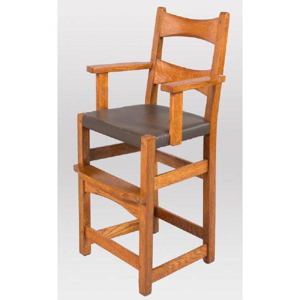 18: Limbert Arts & Crafts oak high chair #871 3/4 -