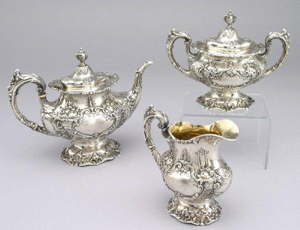19: 3pc. Reed & Barton Francis I Sterling silver tea