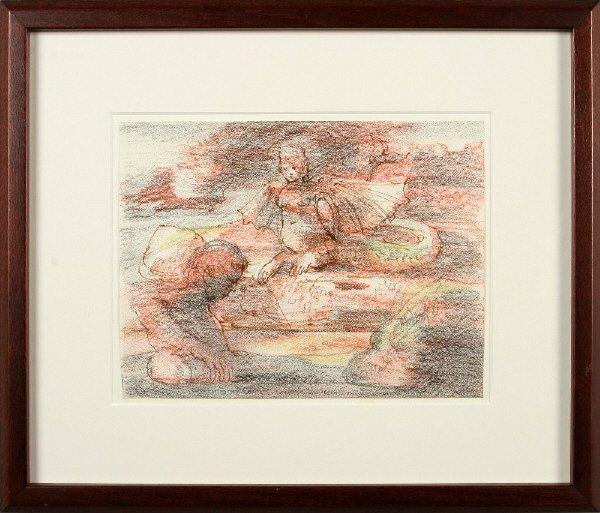 20: Eugene Berman pencil and colored pencil on paper