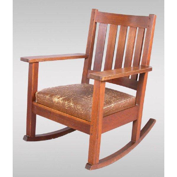 24: Stickley Brandt oak rocking chair with 5 slat back,