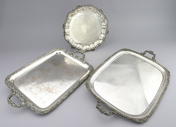 275: (3) Silver plate trays - (1) HB&H serving tray, 30