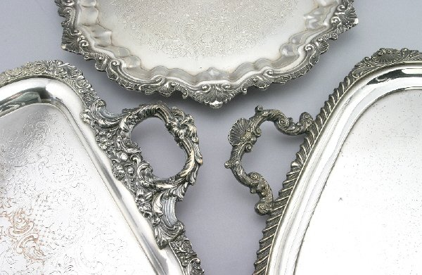 275: (3) Silver plate trays - (1) HB&H serving tray, 30 - 2