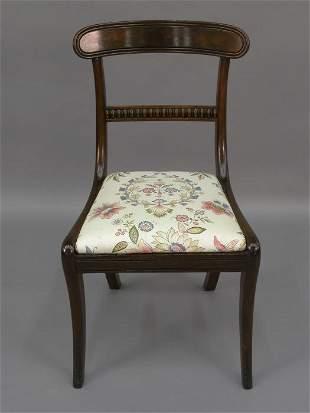 Mahogany Regency side chair, reupholstered