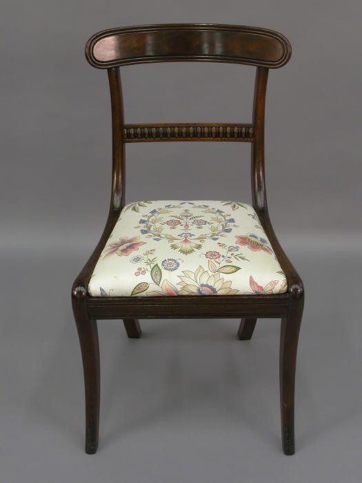 6: Mahogany Regency side chair, reupholstered