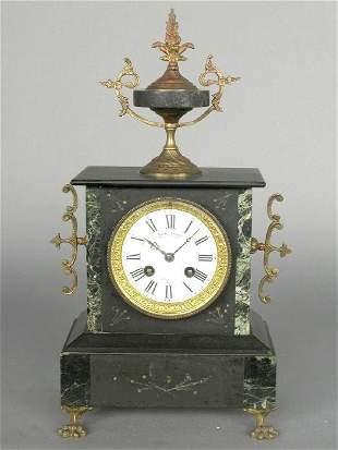 Verdigris and Obsidian mantel clock, Loui