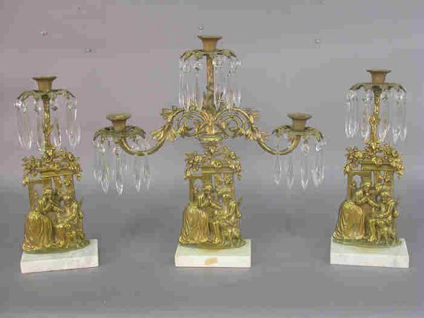 13: Three piece candelabrum set with square p