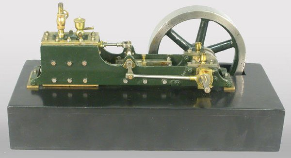 "21: Model steam engine with 5"" fly wheel. 5 1"