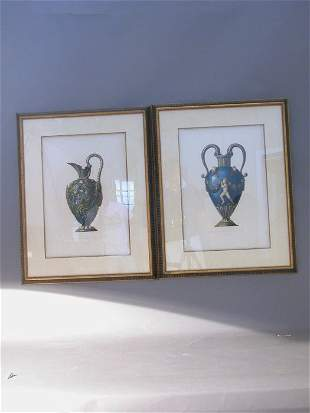Pair of Palisey prints in matching painte