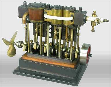 377: Model steam engine with four pistons and