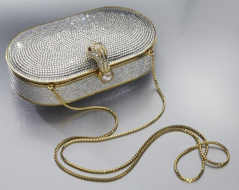 2: Judith Leiber rhinestone clutch evening purse