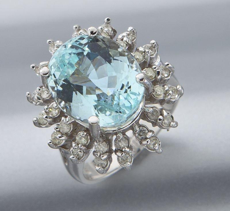 4: 14K gold, aquamarine and diamond dinner ring