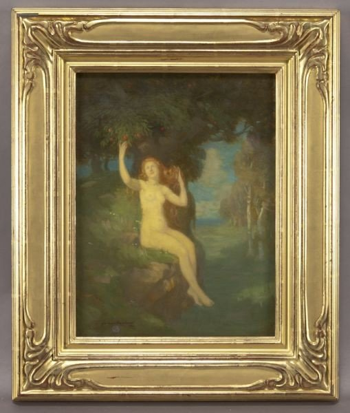 "5: Norwood MacGilvary, ""Nude under Tree"" oil"