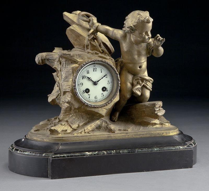 7: French bronze figural mantel clock