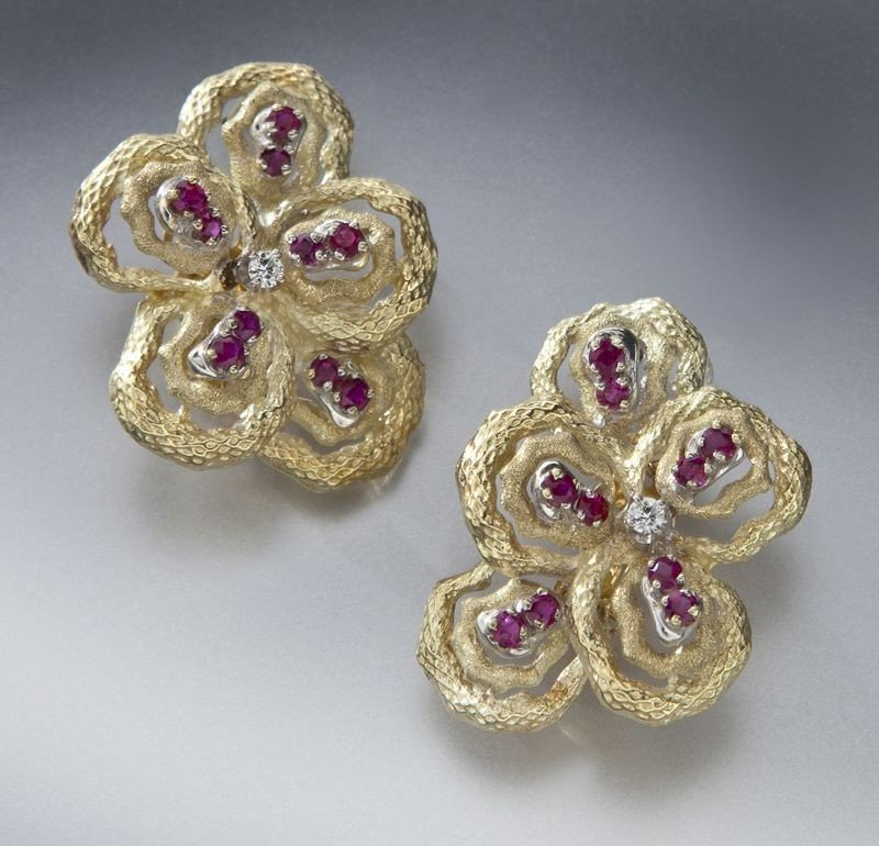 8: Pr. 14K gold, diamond and ruby earrings
