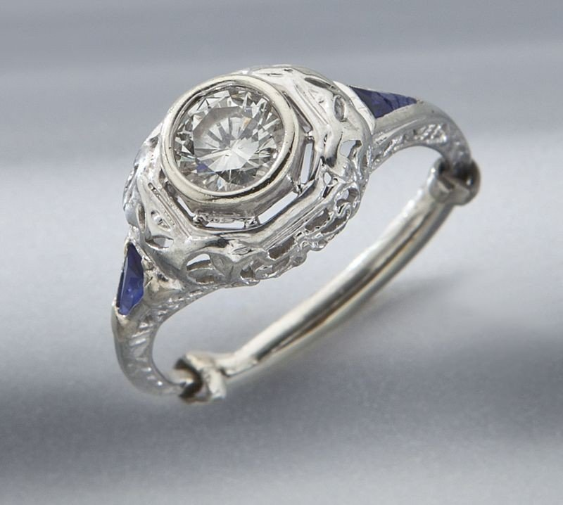 9: Art Deco style 18K gold, diamond and sapphire ring
