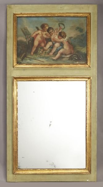 15: Louis XVI style painted and gilt trumeau mirror