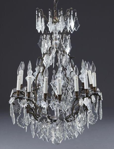 16: Louis XV style 15-light cut crystal chandelier