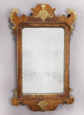Georgian Parcel Gilt Walnut Framed Wall Mirror.