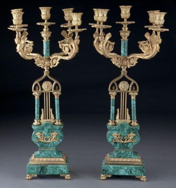 26: Pr. Napoleon III ormolu and malachite candelabra,