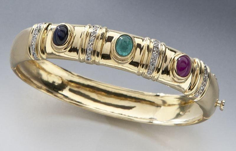 30: 14K, diamond, ruby, emerald and sapphire bangle